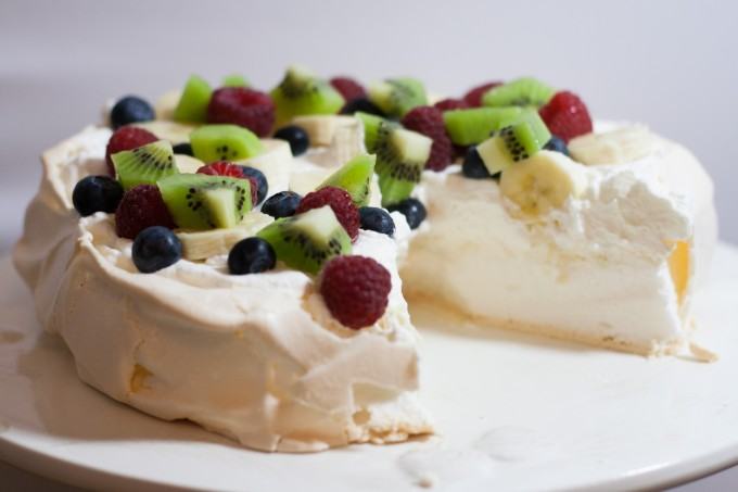 Australian Pavlova with Cream & Fruit