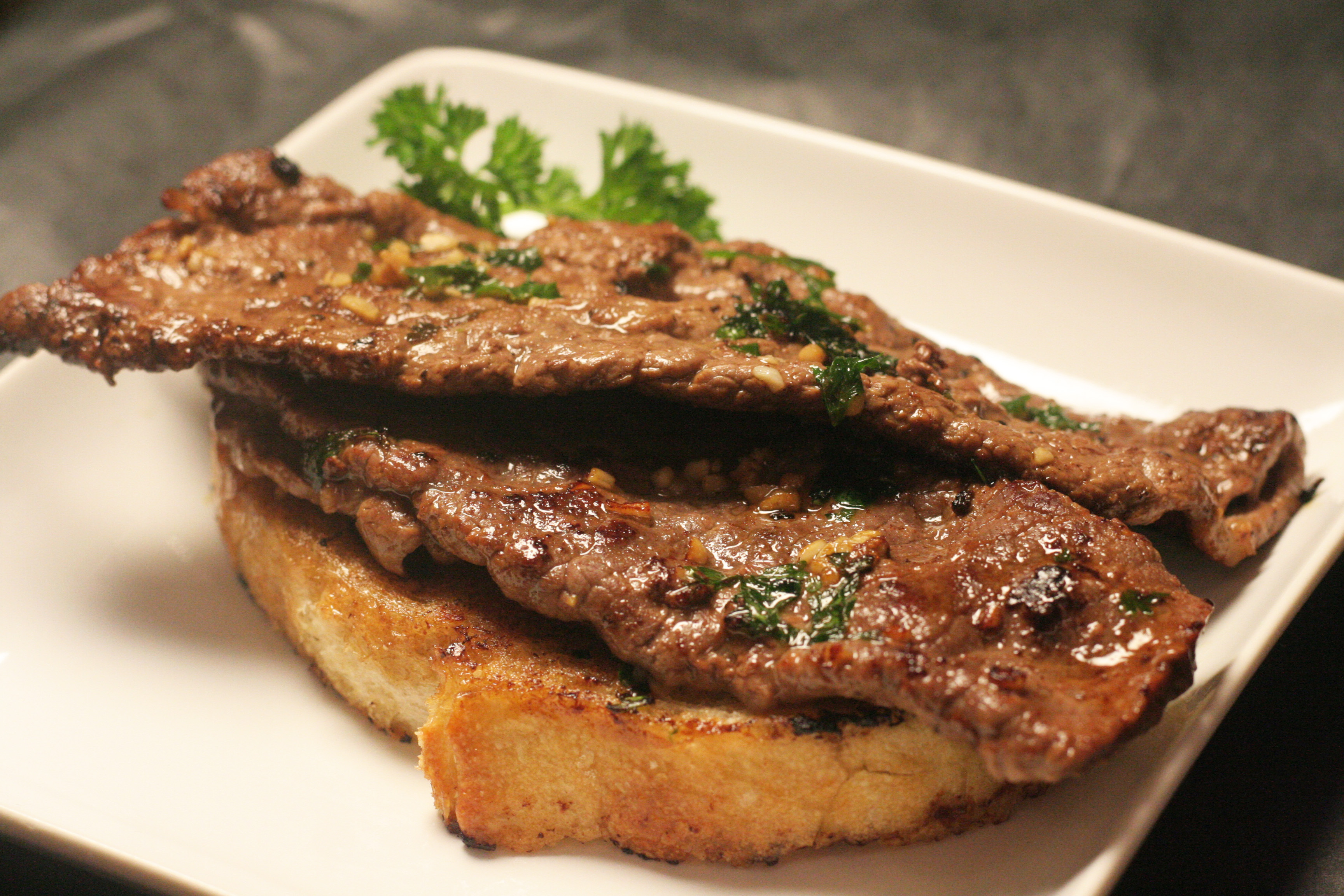 Steak Diane with garlic and parsley