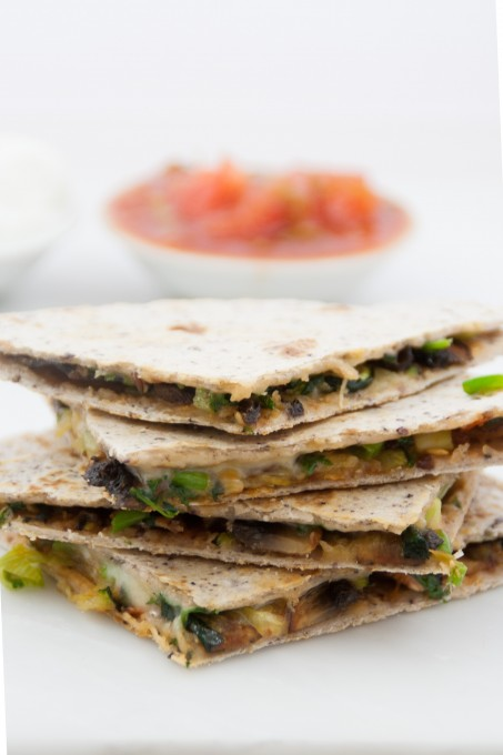 had these roasted vegetable and cheese quesadillas for lunch ...
