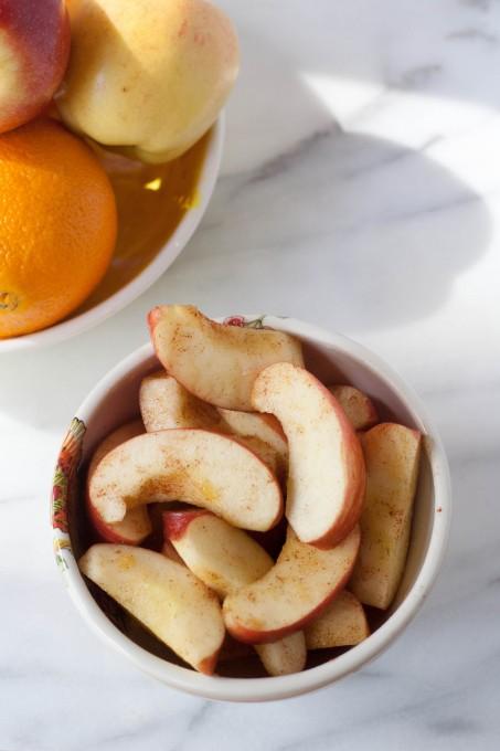 Cinnamon Apples with Ingredients Behind