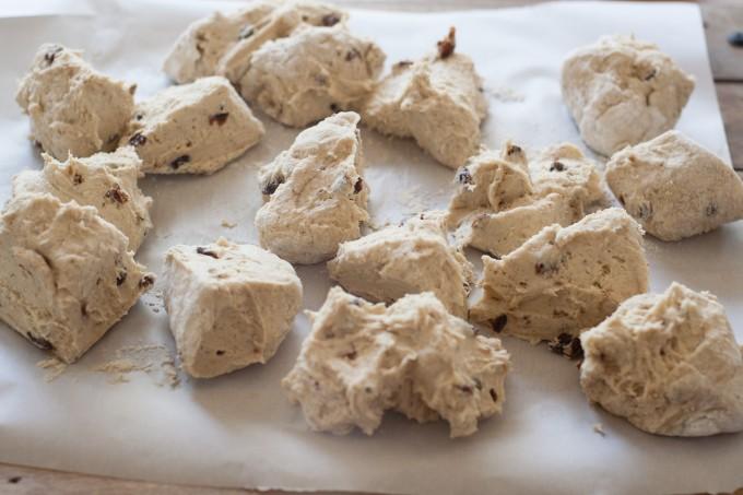 Hot Cross Bun Dough, divided into 16 pieces