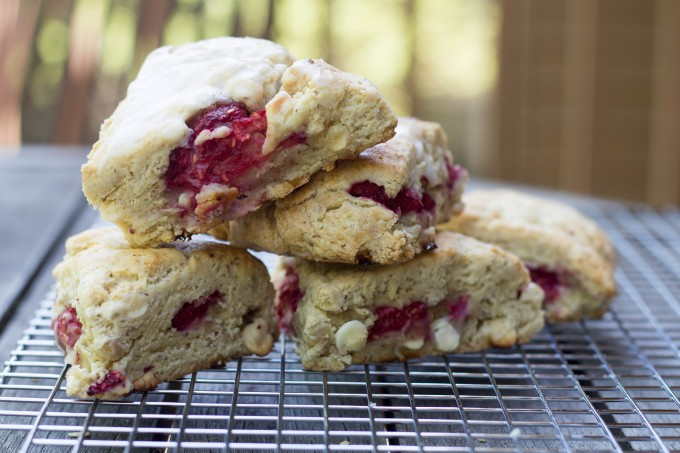 White Chocolate and Raspberry Scones on Cooling Rack
