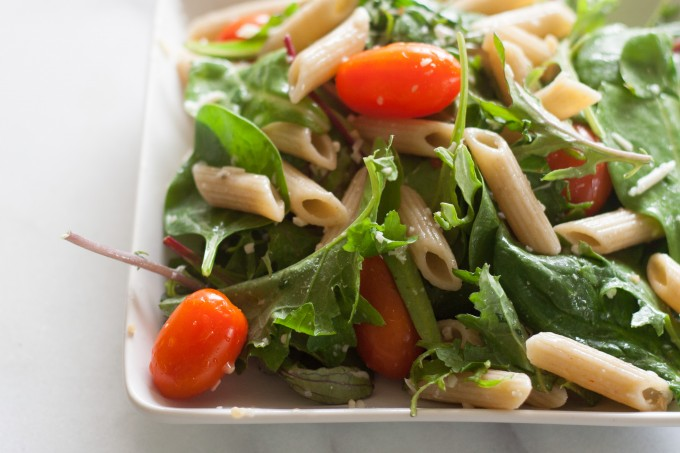 Corner View of Pasta & Baby Greens Salad