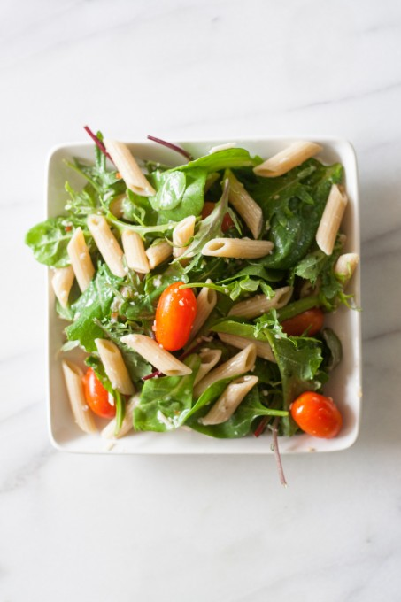 Aerial View of Pasta & Baby Greens Salad