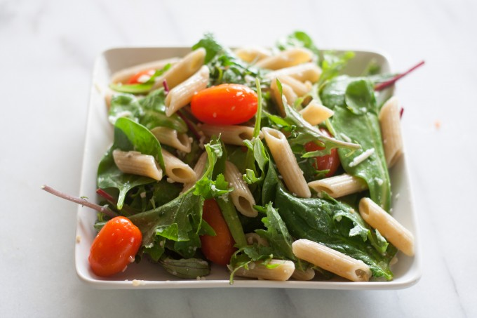 Side View of Pasta & Baby Greens Salad
