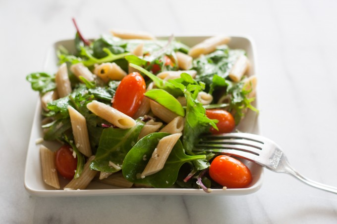 Pasta & Baby Greens Salad with Fork