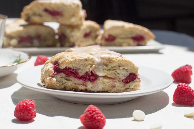 White Chocolate and Raspberry Scone Close Up