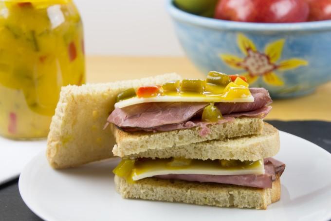 Pickles on Sandwich