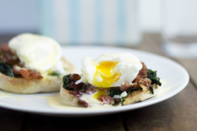 Eggs Florentine with broken yolk