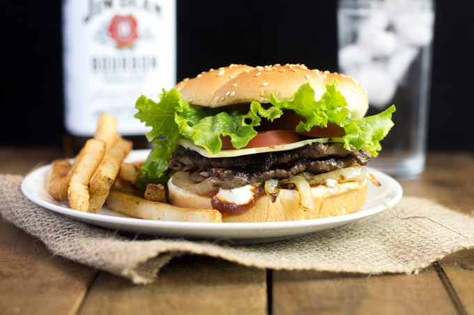 Steak Burger with Whiskey Onions