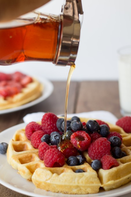 Buttermilk Waffles topped with fruit