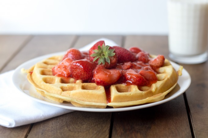 Buttermilk Waffles with Strawberry Compote