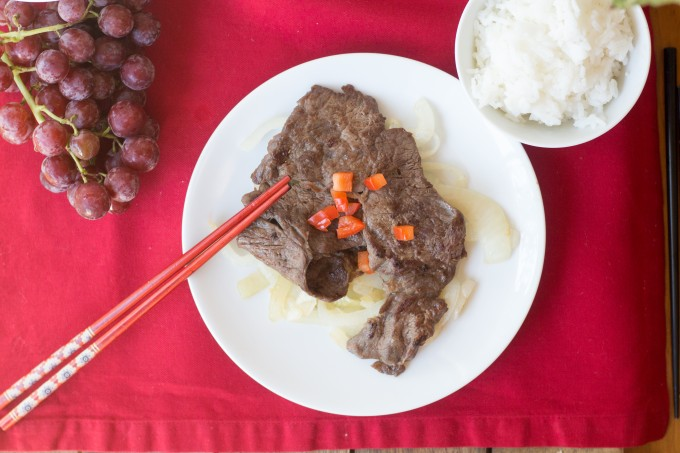 Chinese Steak on a bed of onions