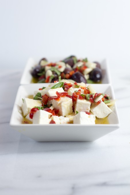 Marinated Olives and Feta in Bowl