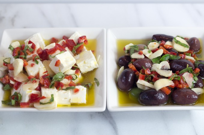 Olives and Feta Marinated in Garlic Oil