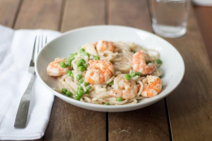 Shrimp Pasta with Peas