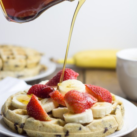 Chocolate Chip Waffles with Maple Syrup and Fruit