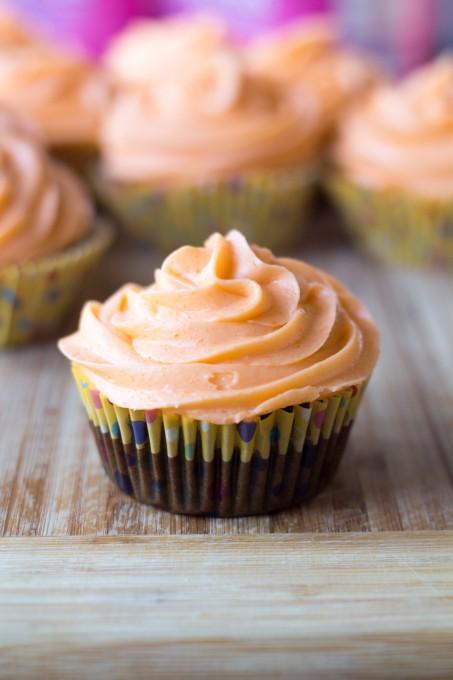 Chocolate Cupcakes with Orange Cream Frosting