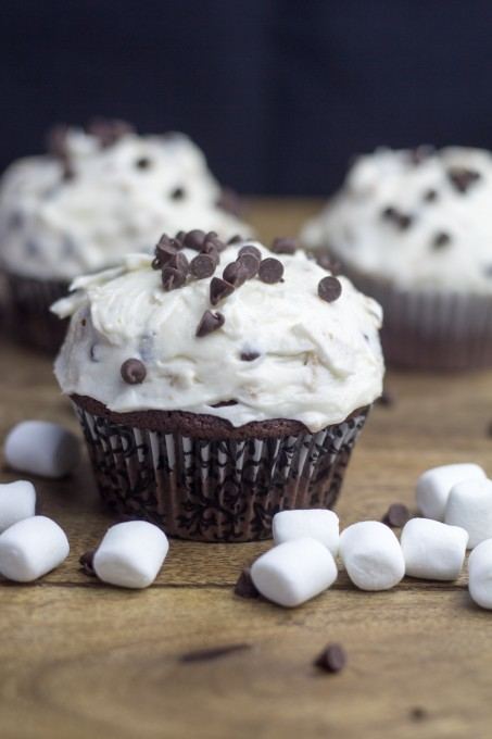 Chococlate Cupcakes with Smores Frosting