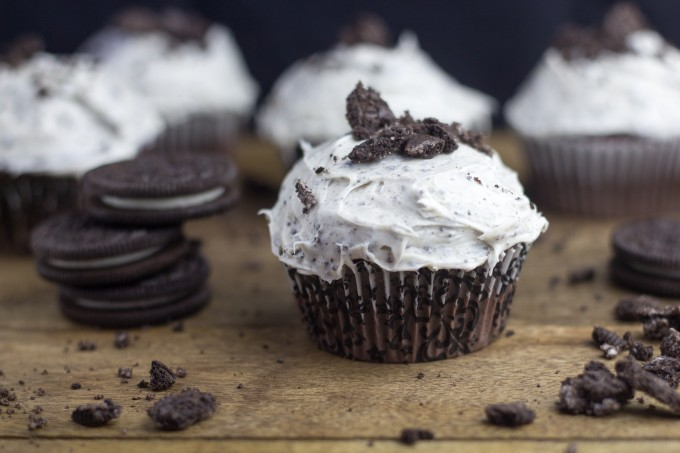 Chocolate Cupcakes with Cookies & Cream Frosting