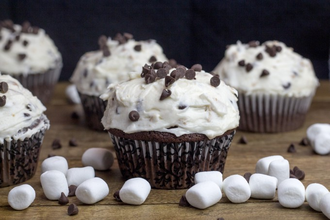 Smores Frosting on Chocolate Cupcakes