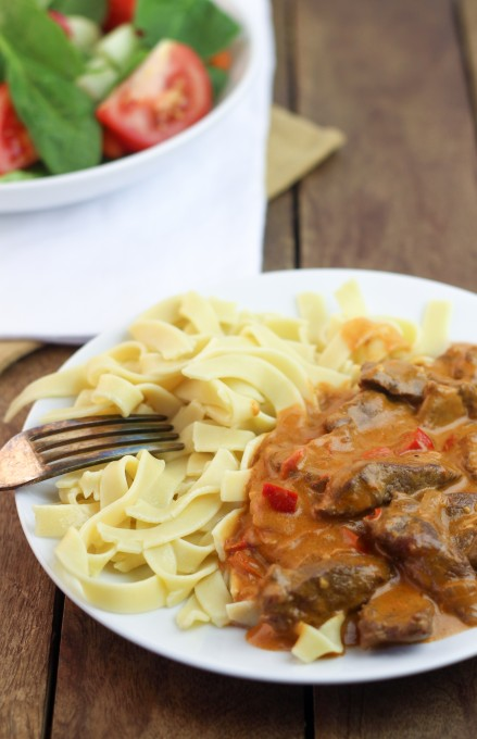Beef Stroganoff served with Noodles