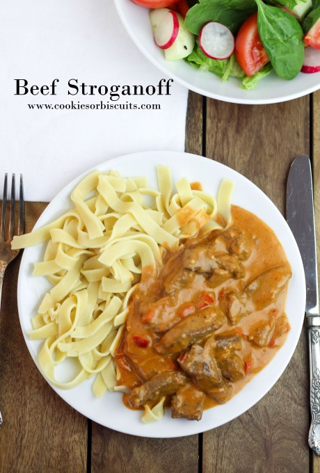 Beef Stroganoff with Noodles with title
