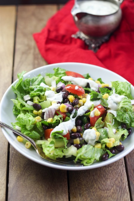 Mexican Salad with a Light and Creamy Lime & Cilantro Dressing