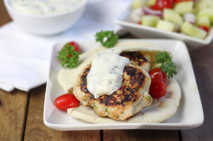 Turkey Burgers with Greek Salad
