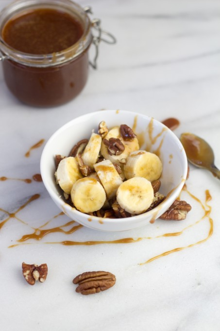Salted Caramel Sauce with Bananas and Pecans