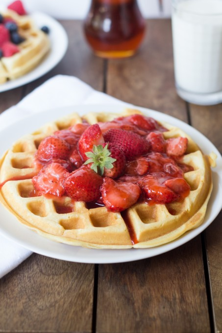 Strawberry Compote on Buttermilk Waffles