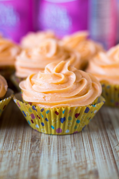 Orange Cream Frosting on a Simple Chocolate Cupcake