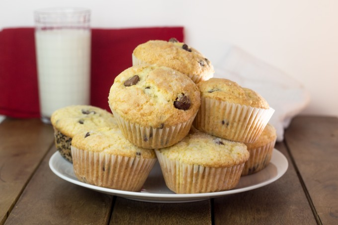 Chocolate Chip Muffins on a Plate