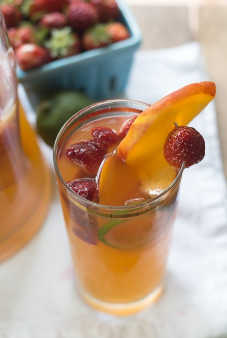 Peach, Strawberry & Lime Sangria
